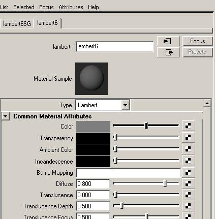 Lambert > Attribute Editor