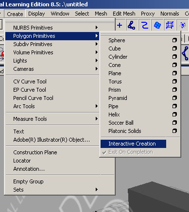 Create > Polygon Primitive > Interactive Creation