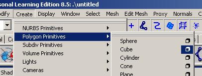 Create > Polygon Primitive > Cube