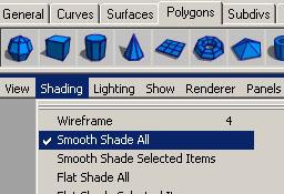 Shading > Smooth Shade All