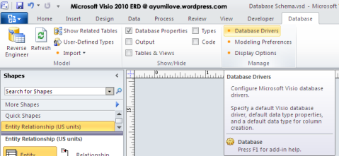 Microsoft Visio 2010 ERD Ribbons Database Driver