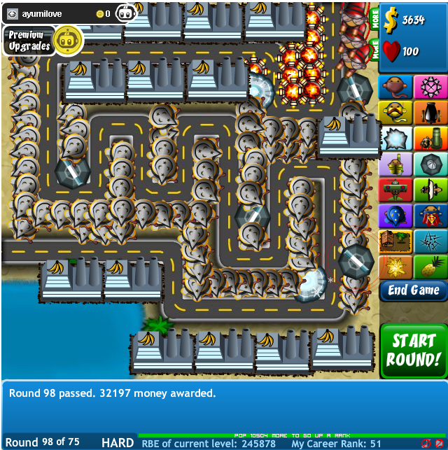 To reach high level on Bloons Tower Defense 4 Hard Map 1, you need to ...